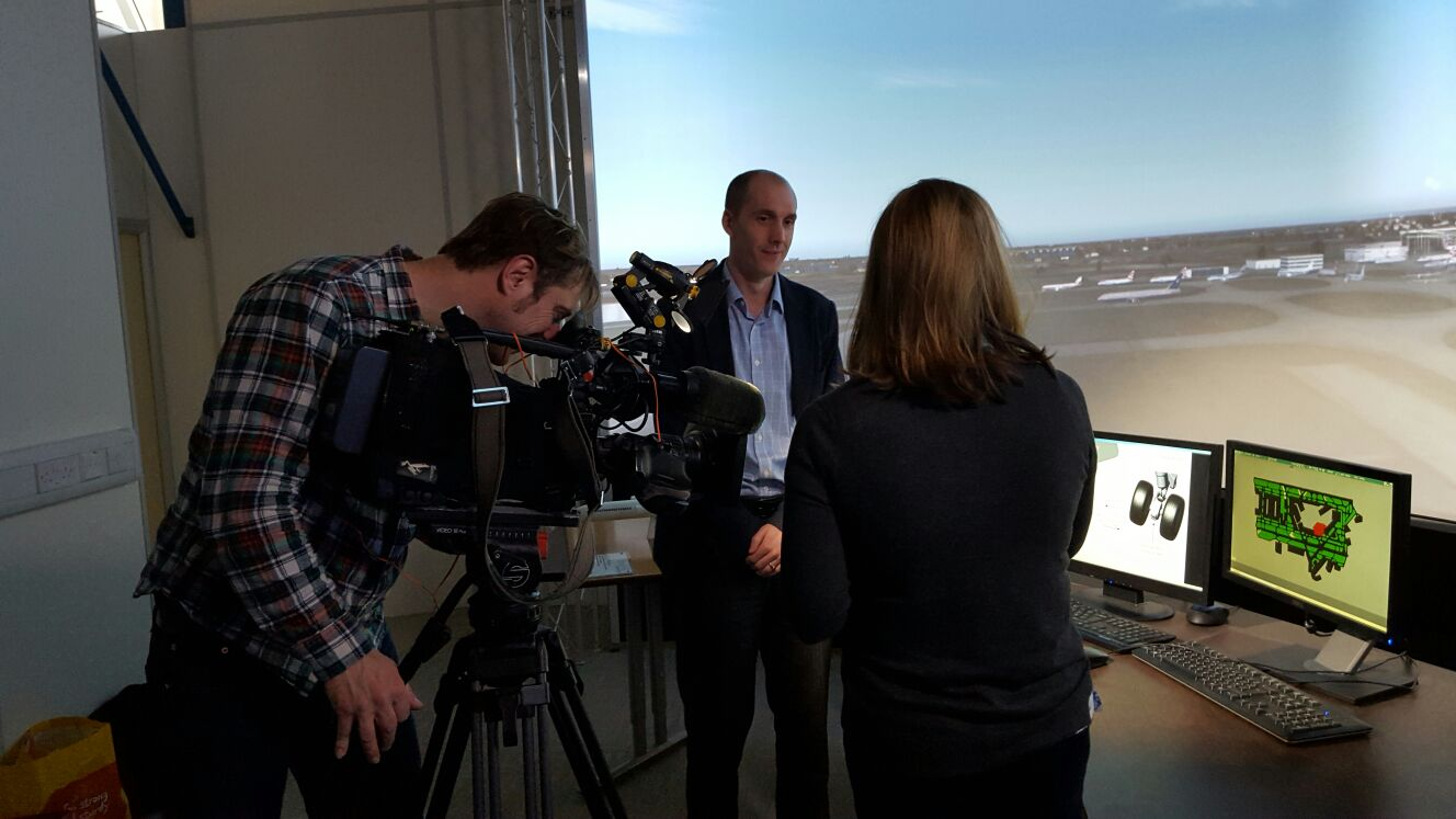 Dr Craig Lawson being interviewed about easyJet's hybrid plane project