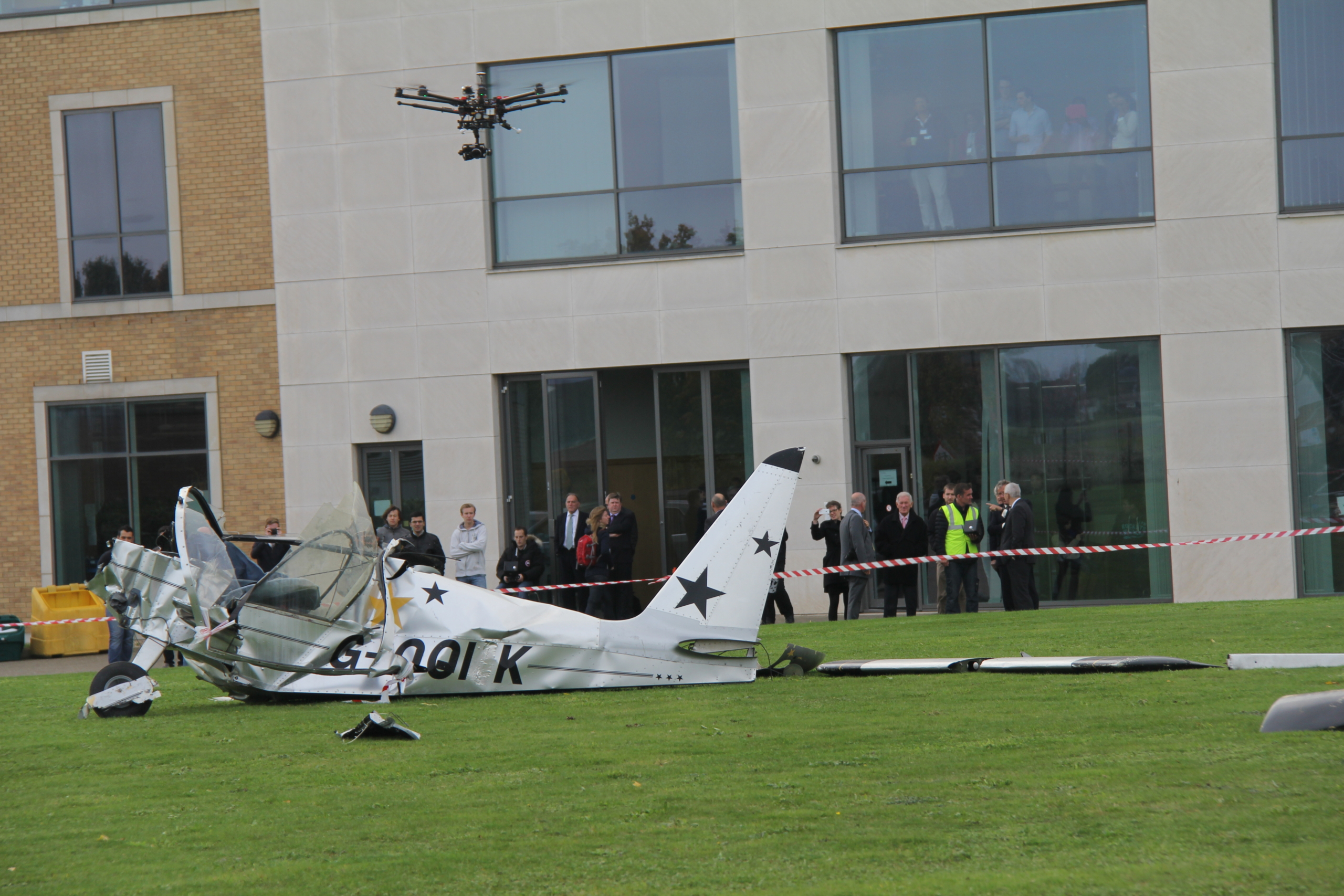 """DJI S1000 """"Octocopter"""" Drone scans a demo accident site outside Martell House, Cranfield University"""