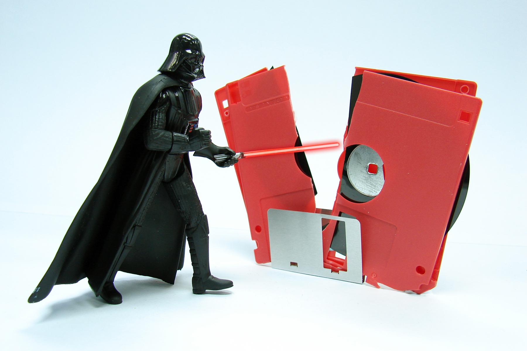 Darth Vader model destroying a floppy disk