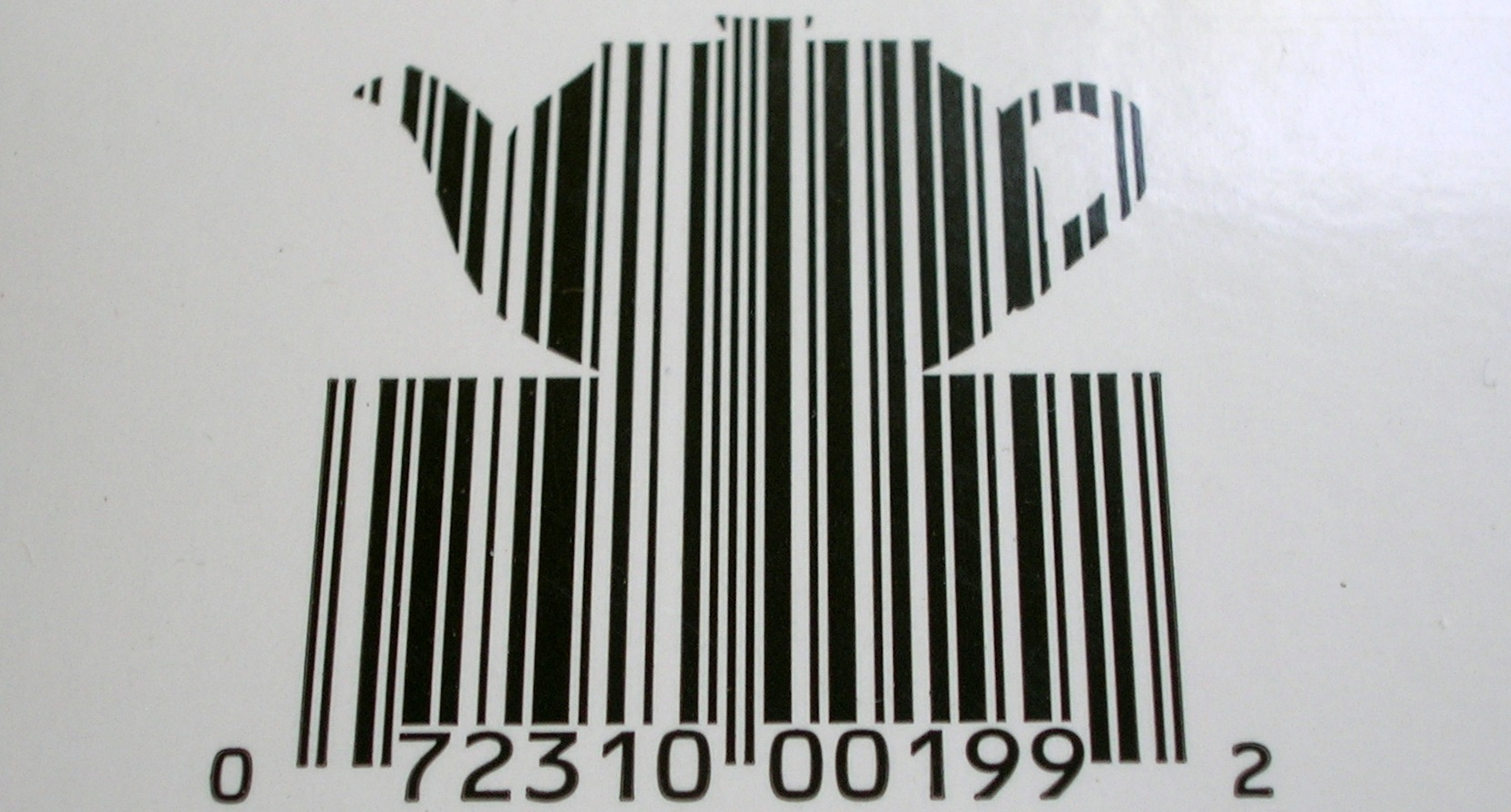 Barcode in the shape of a teapot