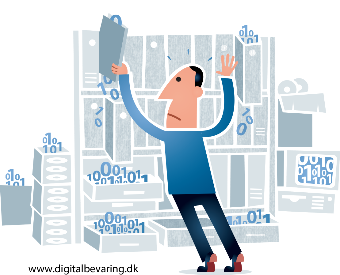 Cartoon of man struggling to control data in filing cabinets
