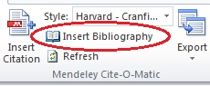 Mendeley insert bibliography screen