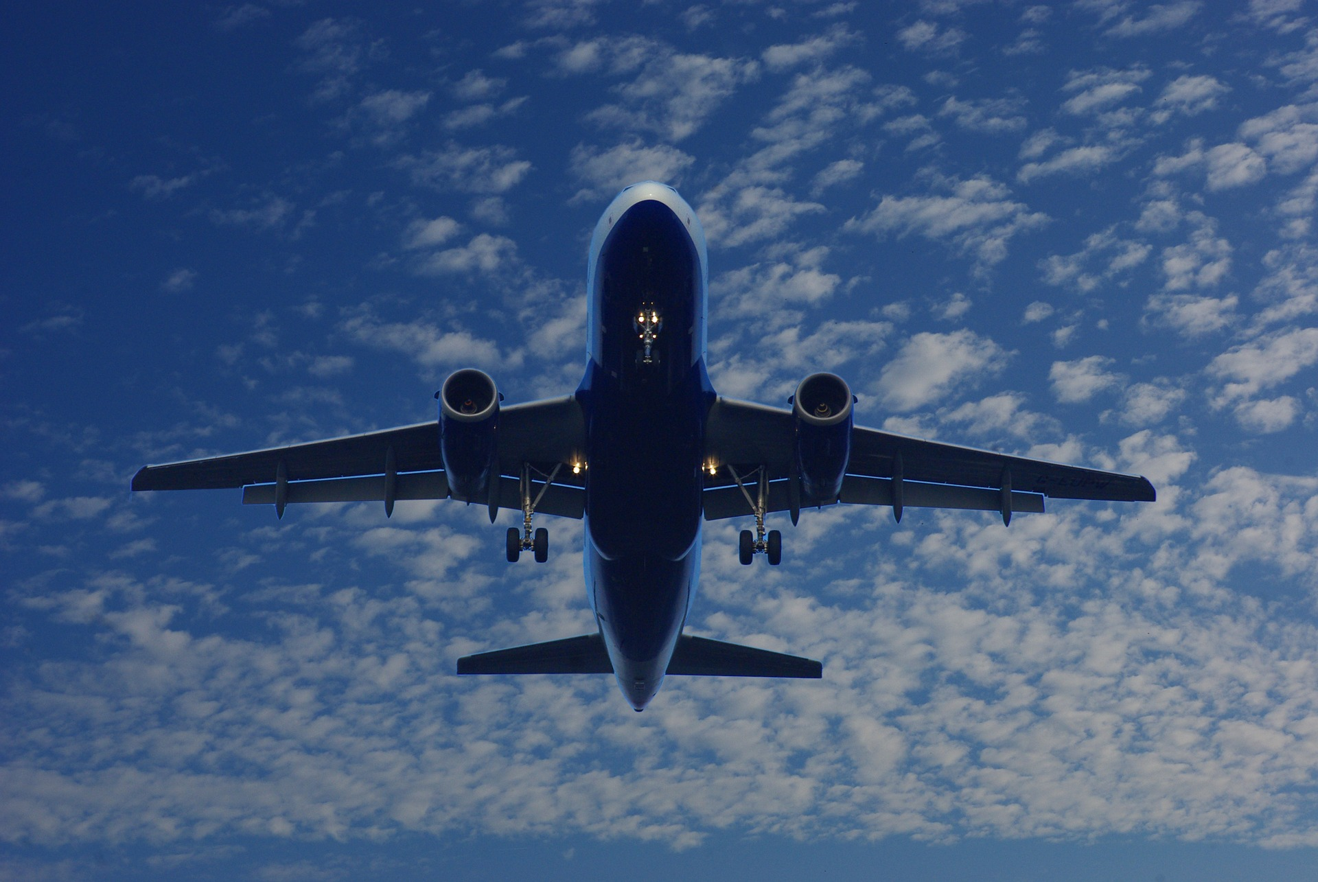 Commercial jet in flight