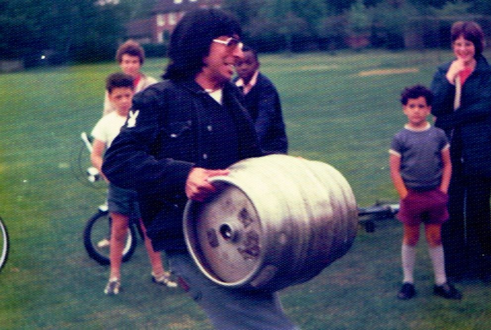 Barrel lifting at sports day