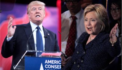 Donald Trump and Hillary Clinton during United States presidential election 2016