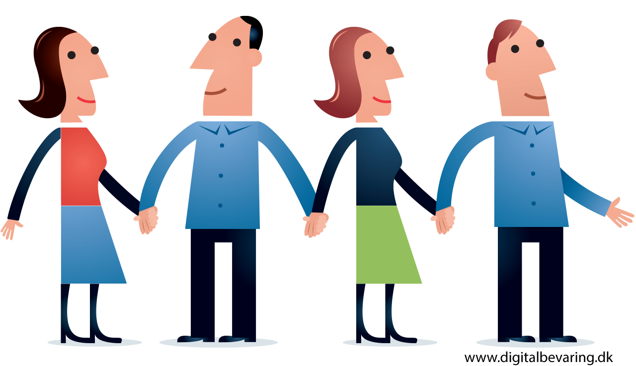 Illustration of four people holding hands