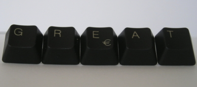 The word 'great' spelled in computer keys