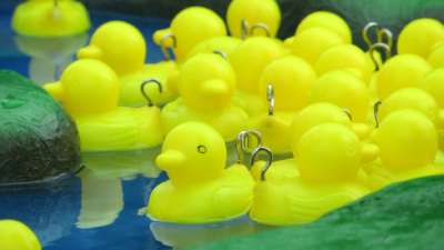 Photo of a hook-a-duck competition