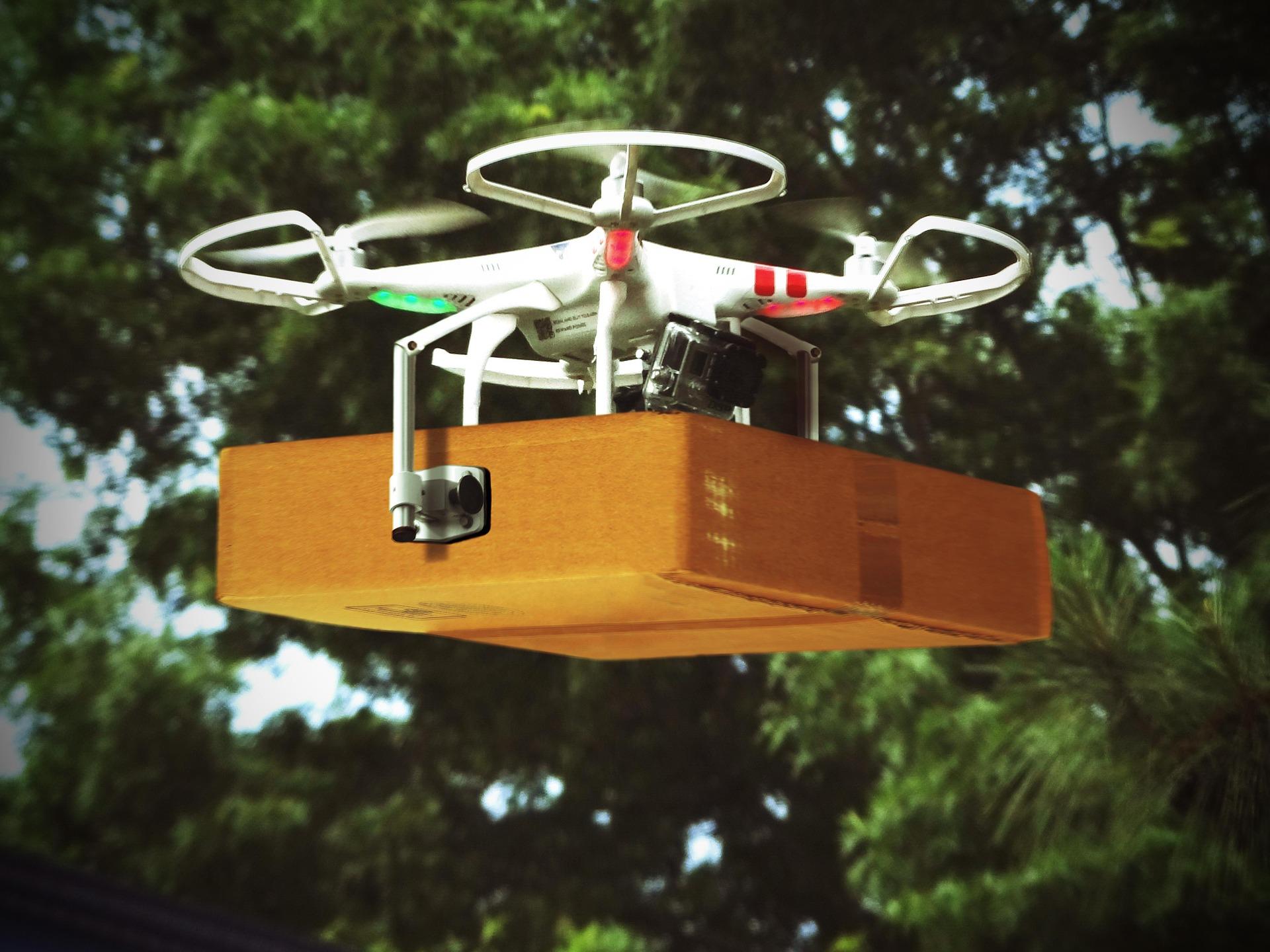 A drone delivering a parcel