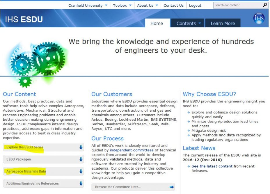 Cranfield University Blogs | ESDU - a fantastic resource for