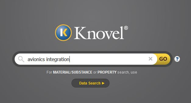 Screen shot of Knovel search screen