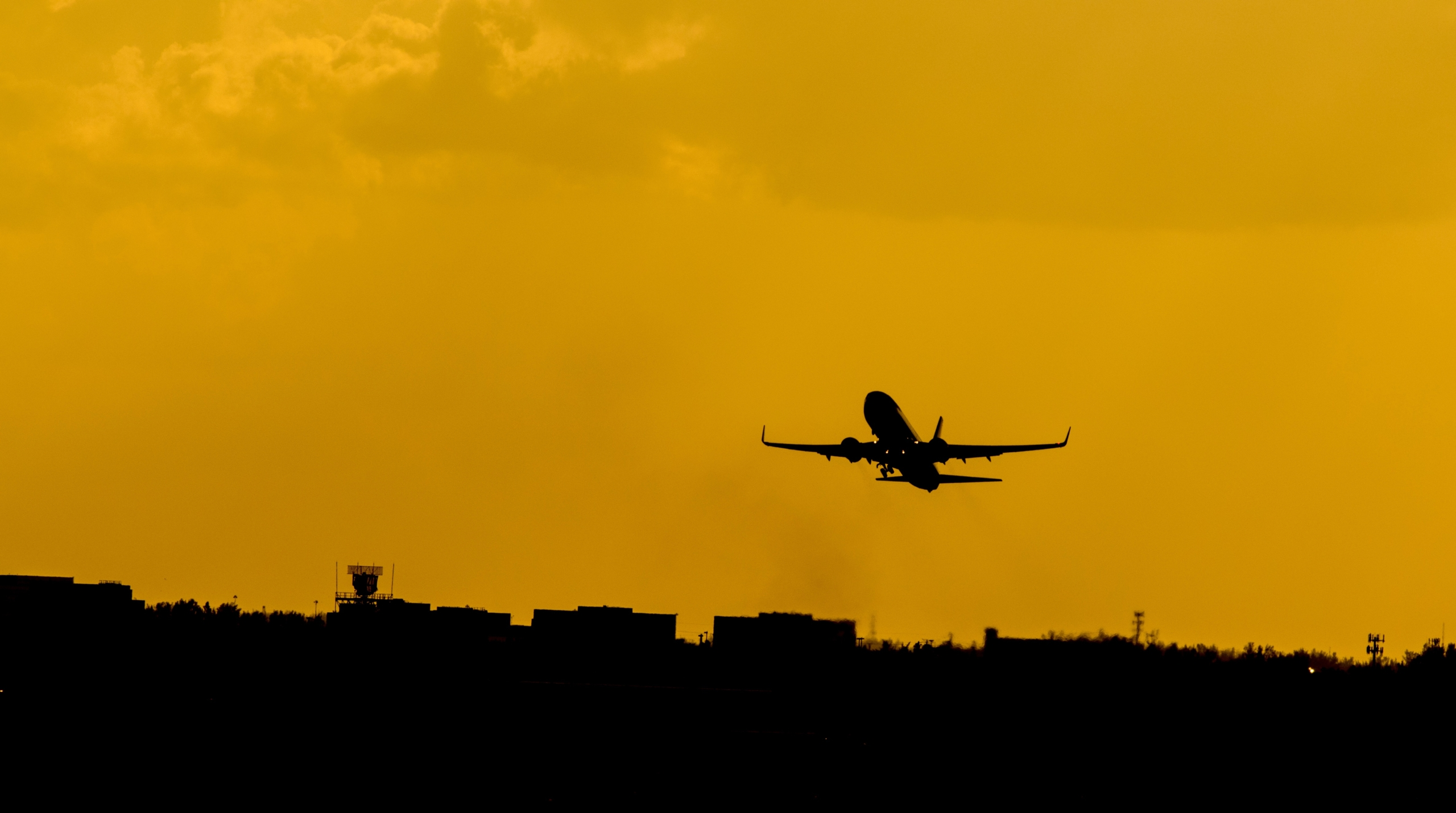 Aircraft taking off from Miami airport