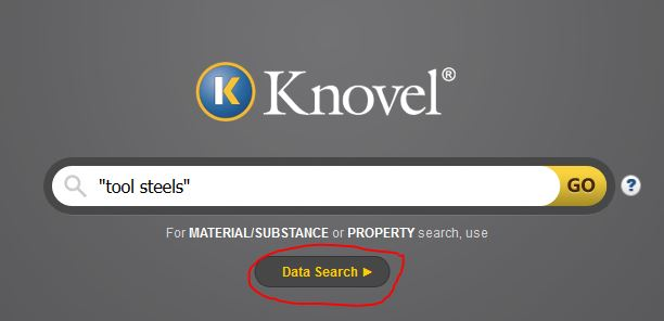 Screenshot showing where to find Knovel Data Search