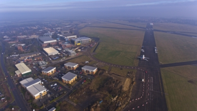 Aerial shot of Cranfield University campus