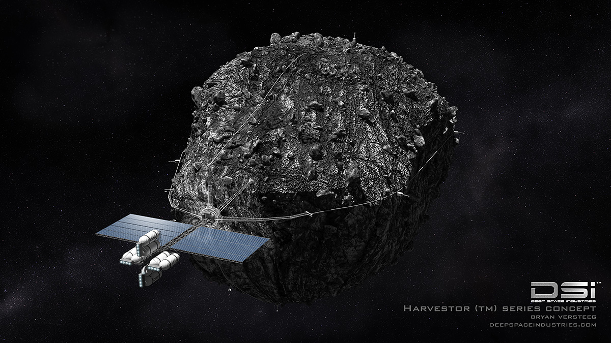 Space craft hauling an asteroid in space