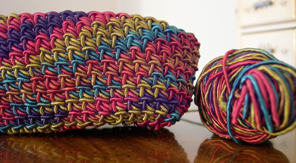 Photo of a multicoloured basket made of cord