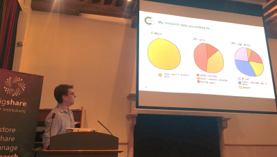 Photo of Dr Partridge presenting at figsharefest