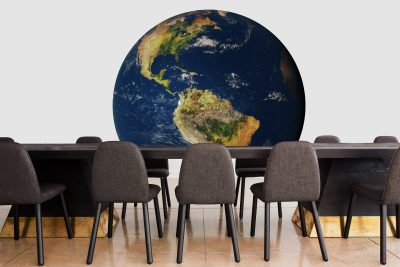 Globe surrounded by chairs