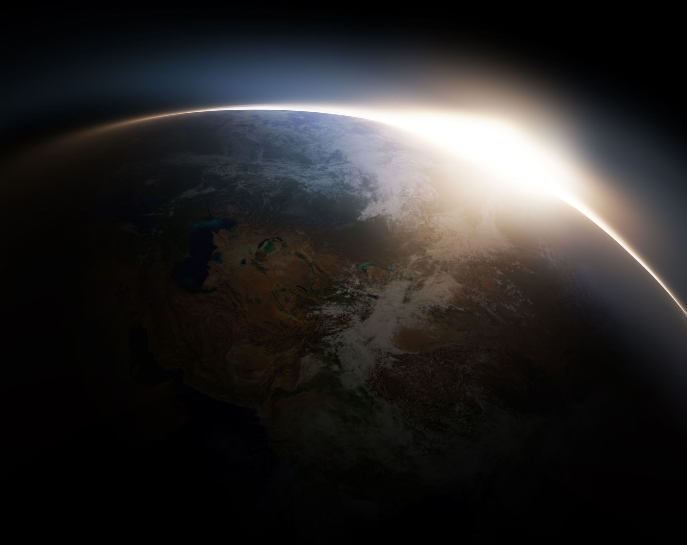 Sunrise from space - computer generated for your projects