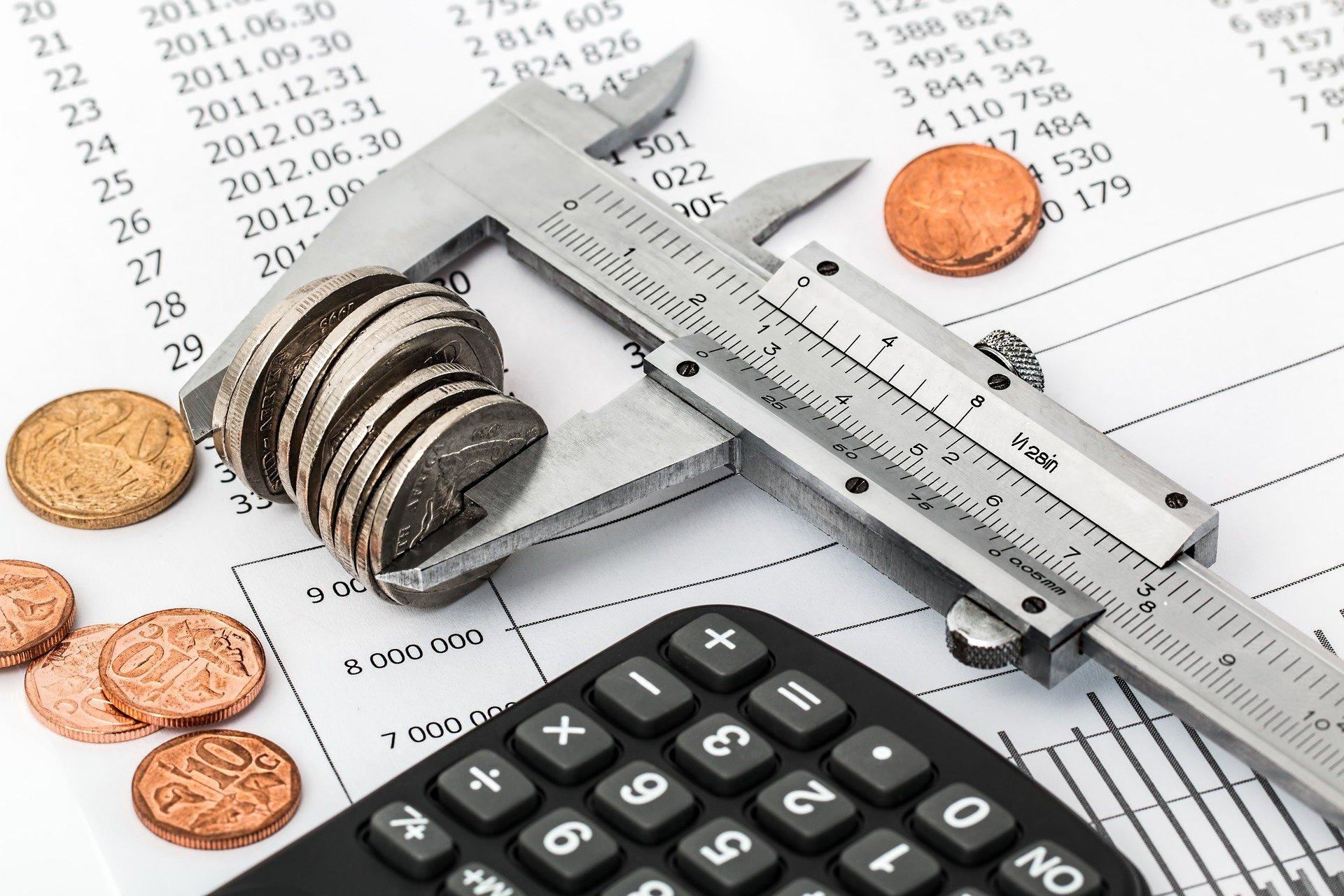 calculator and coins with ruler