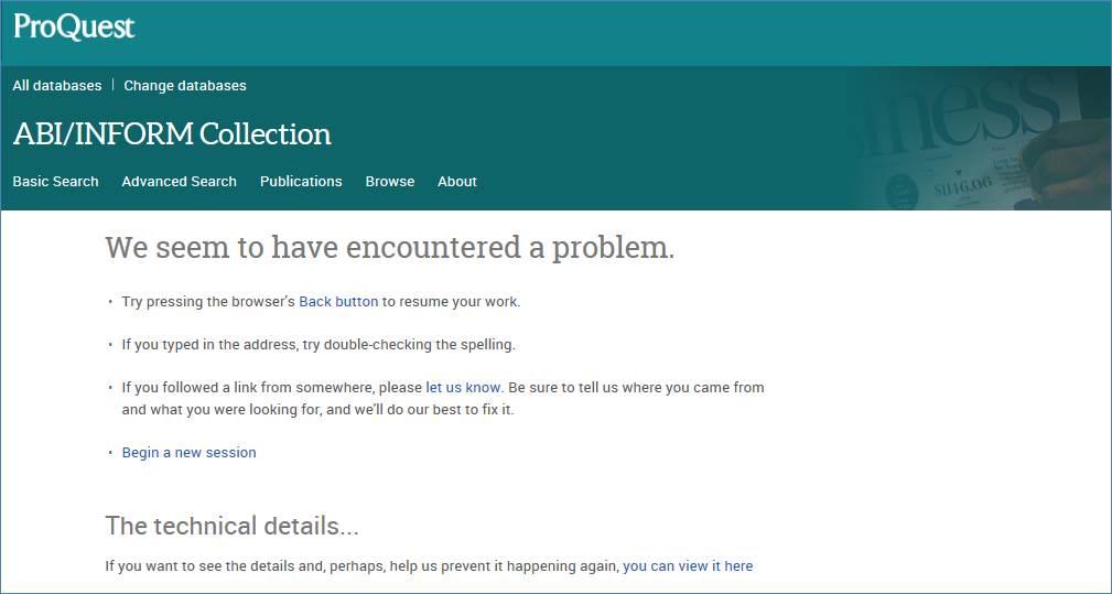 Error screen on ABI/Inform