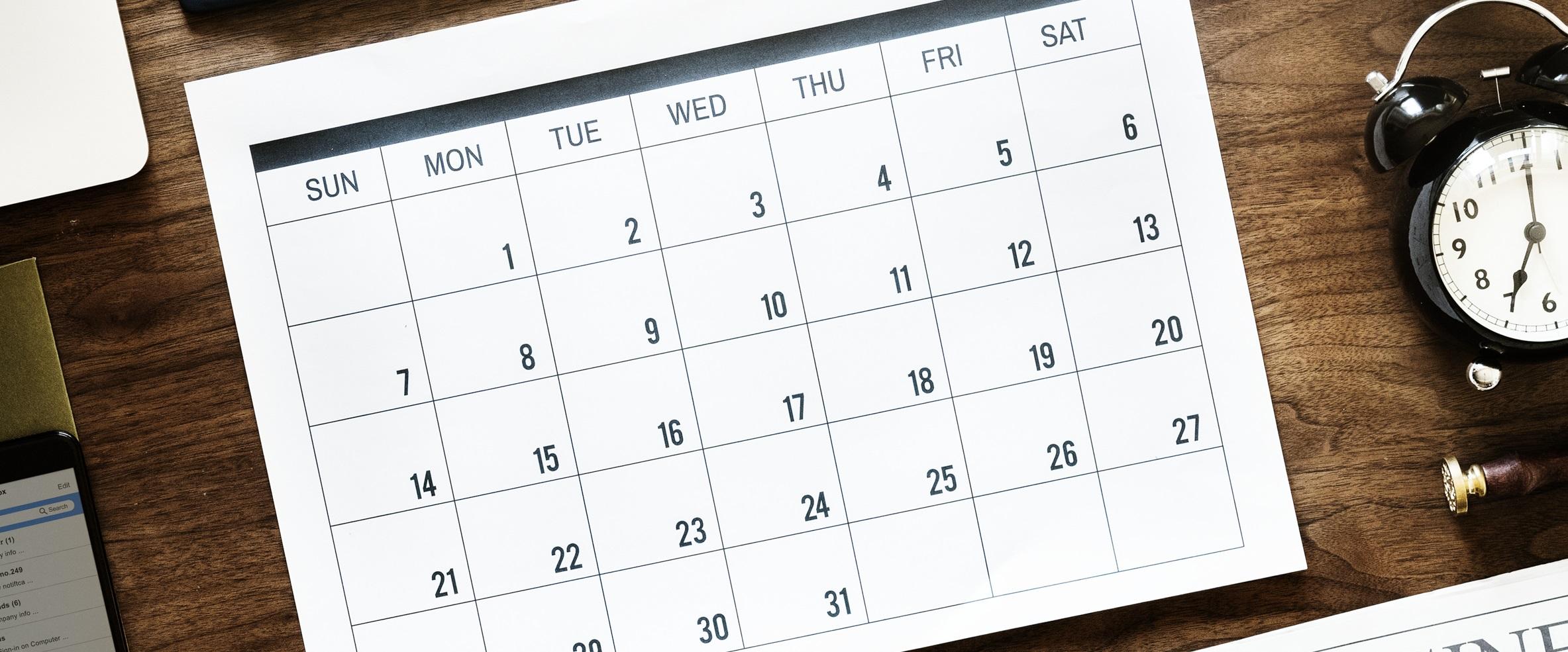 photo of an open calendar/agenda