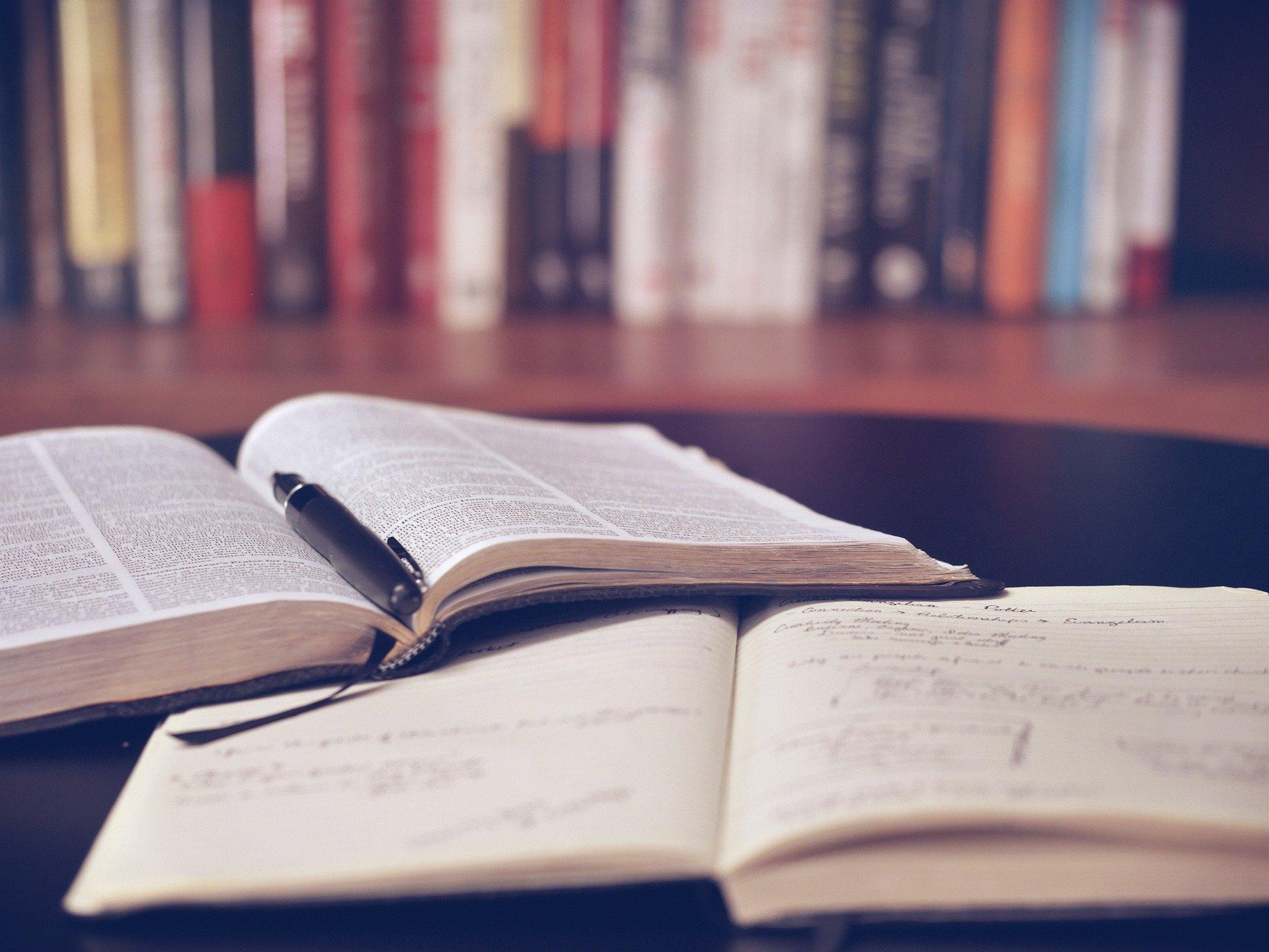 books open on a desk