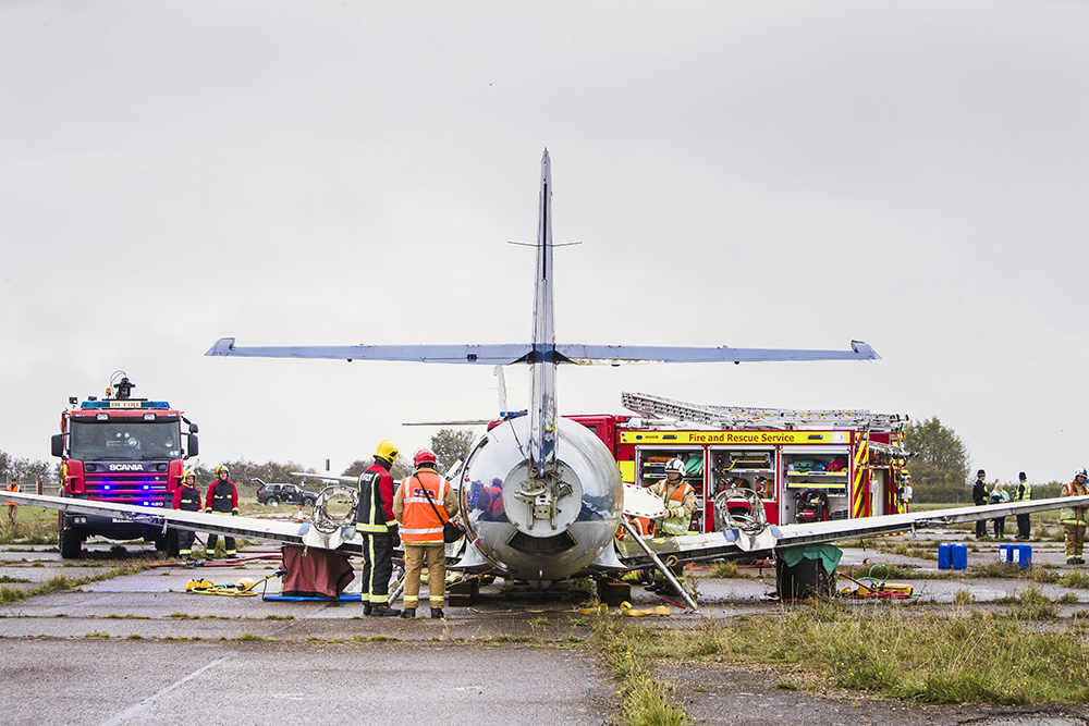 Part of the airport emergency exercise