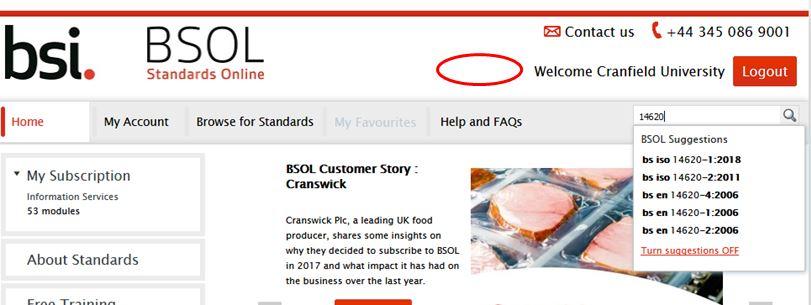 British Standards Online screenshot
