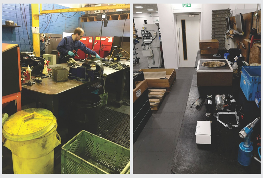 Figure: (L) An operator reconditioning automotive parts in a remanufacturing shop floor. (R) A remanufactured product awaiting quality assurance. (Courtesy: PSS, United Kingdom).