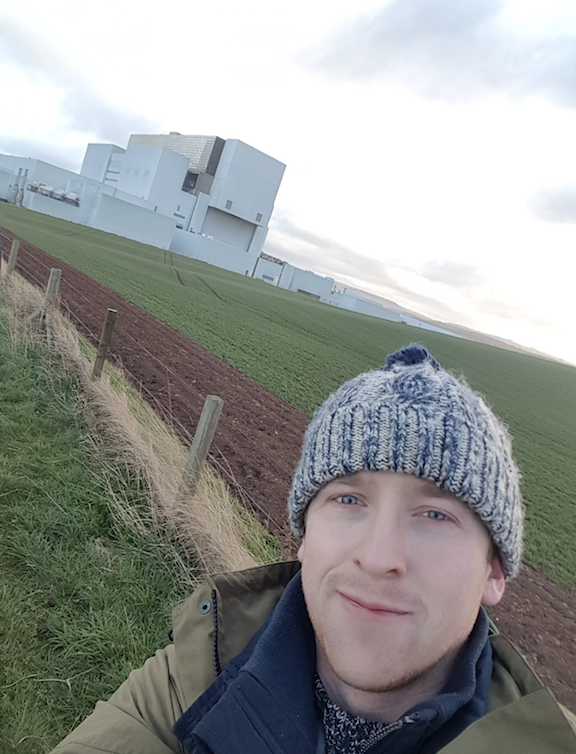 Selfie in front of Torness nuclear power station, Scotland