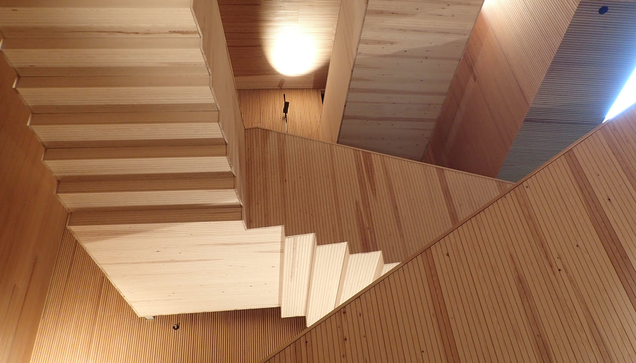 Photo of the Think Corner staircase looking upwards - it looks like a flight of stairs upside down!