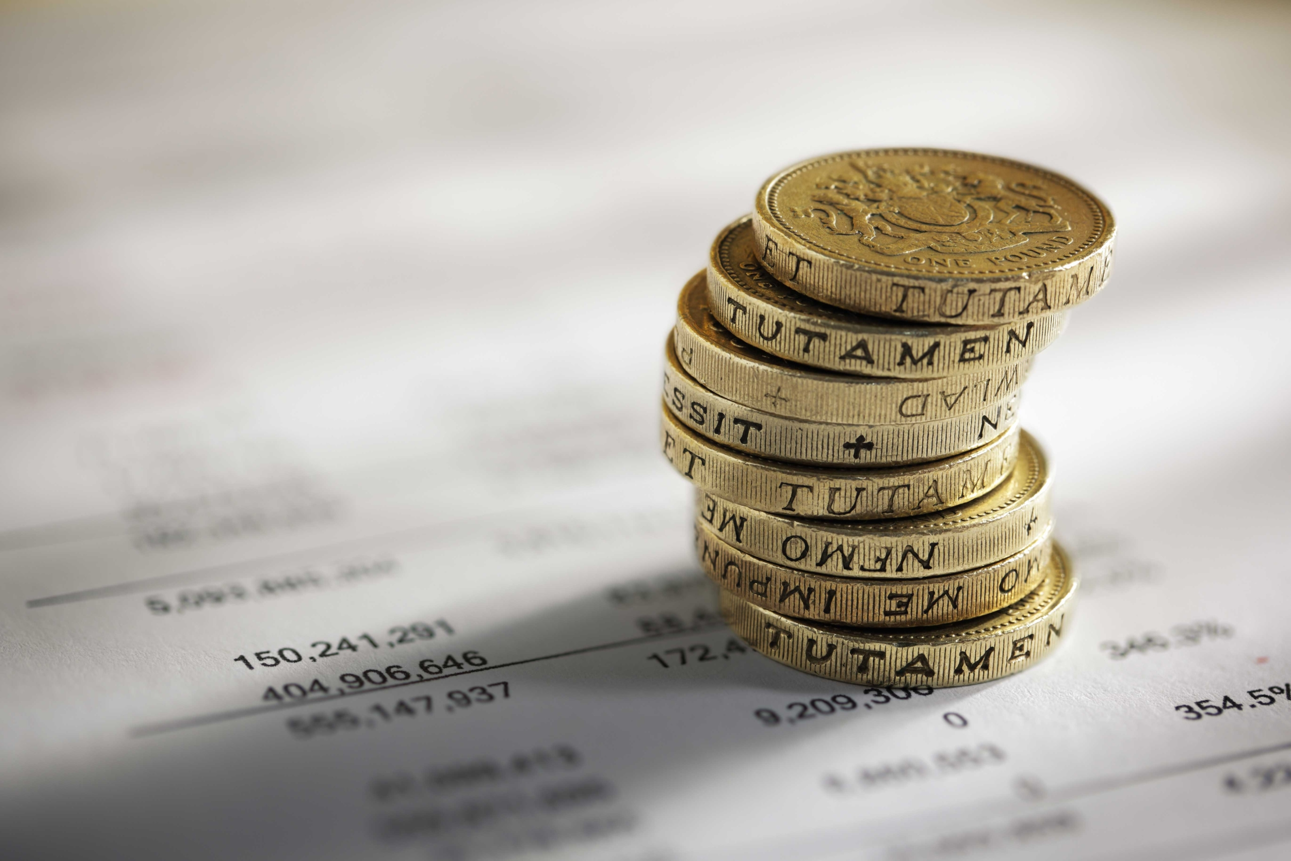 A stack of pound coins