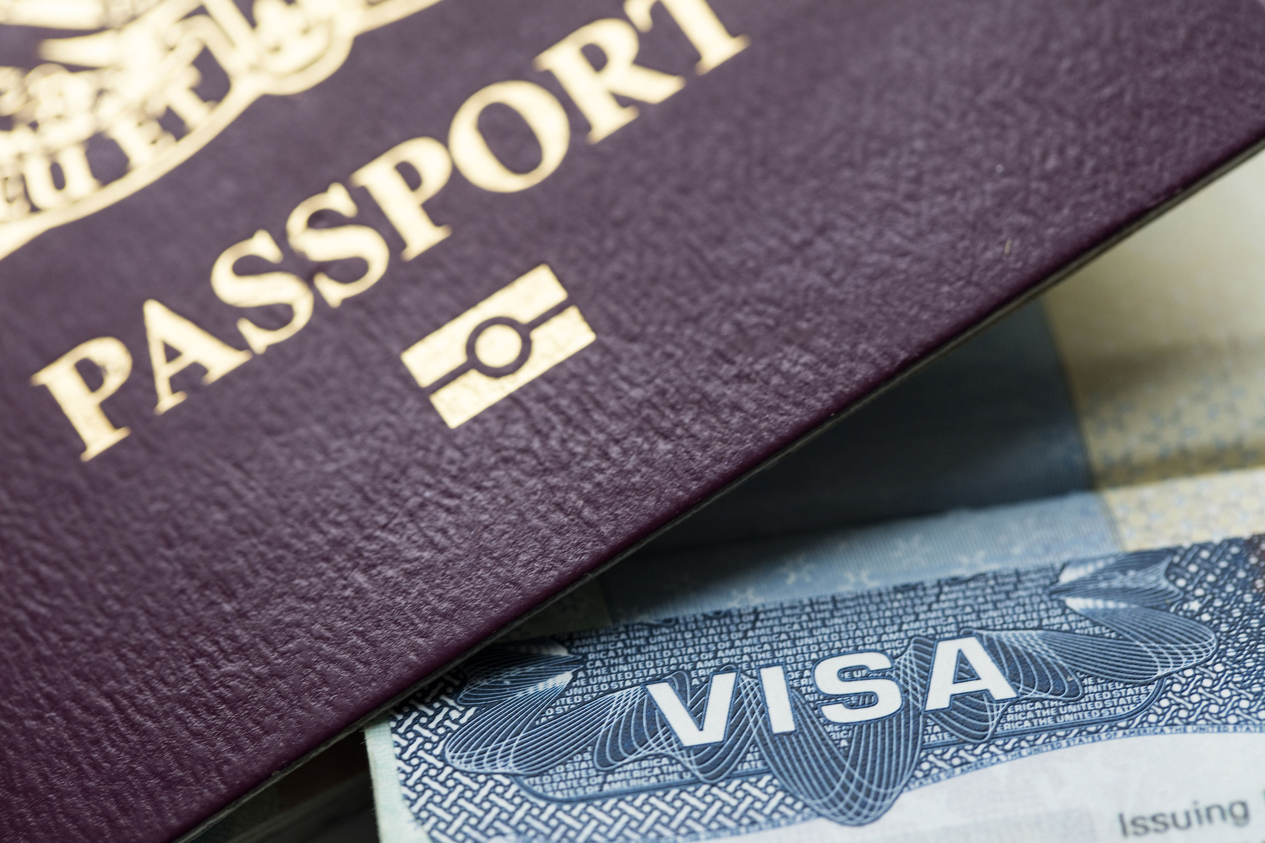 Close up of a Visa document and passport. Immigration
